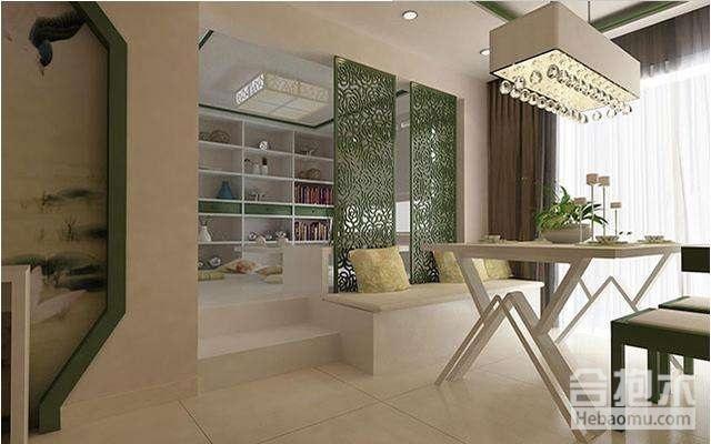 家装公司,半开放式书房连着客厅,书房,