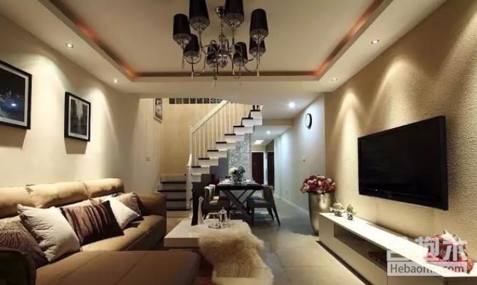 硅藻泥电视背景墙,客厅装修图,