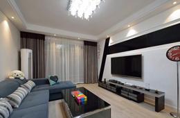 合抱木家居資訊-【裝修公司】93㎡現代婚房設計,客廳電視墻設計太有創意了,贊爆!